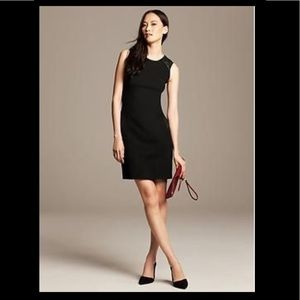 Banana Republic faux-leather trim black dress 0